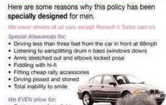 Insurance Humor - car insurance designed for men