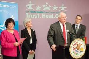U.S. Health and Human Services Secretary, Kathleen Sebelius, and Illinois Governor, Patrick Quinn, as they introduced the Illinois State-Federal Health Insurance Marketplace.. HHS